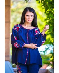 BLUZA TIP IE TRADITIONALA BLEUMARIN CU BRODERIE