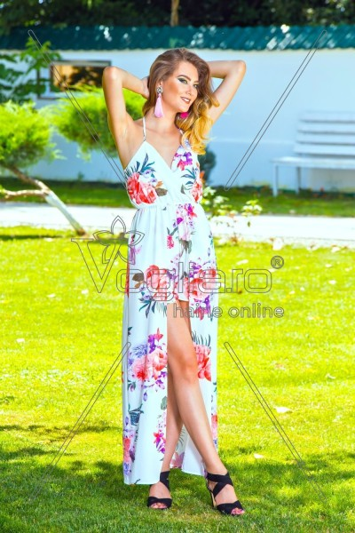 MAXI DRESS IMPRIMEU FLORAL CU PANTALONI SCURTI